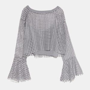 Zara METALLIC THREAD TOP-SILVER - 6771/111-M-L